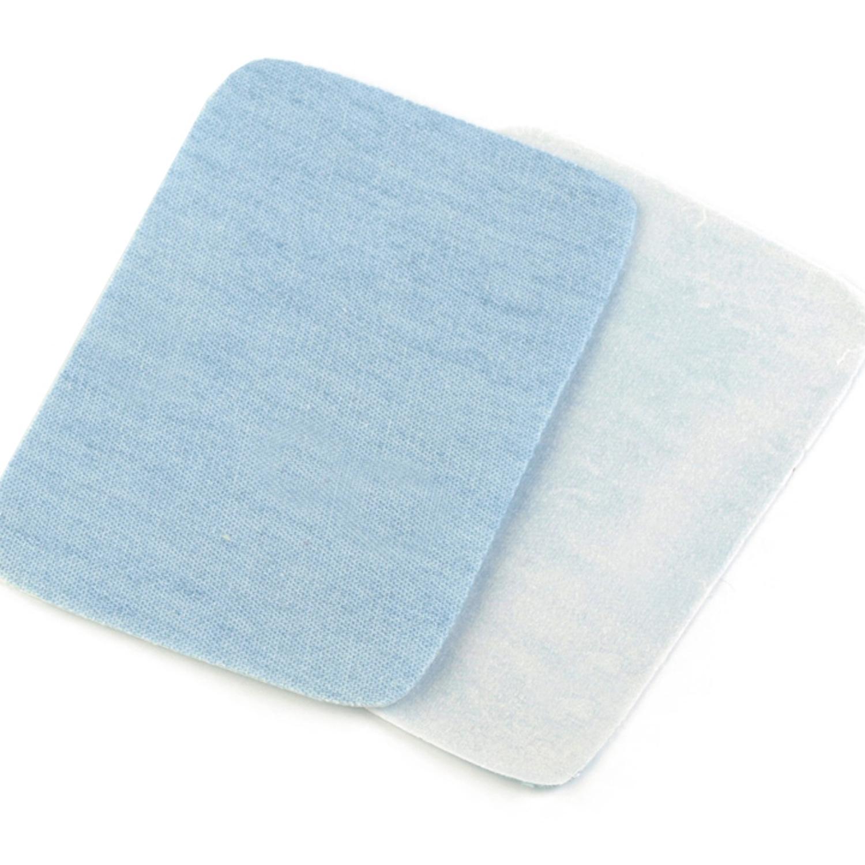 2x Jeans Bügelflicken - 5,3 x 7,9 cm - Eisblau (1)