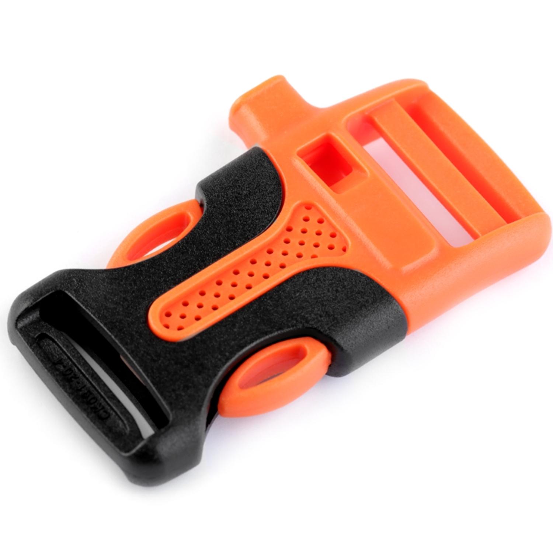 2x Steckschnalle mit Trillerpfeife - 20mm - Orange