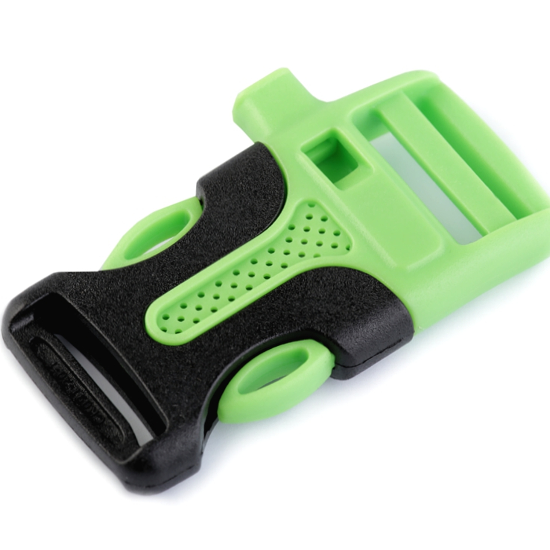 2x Steckschnalle mit Trillerpfeife - 20mm - Grün