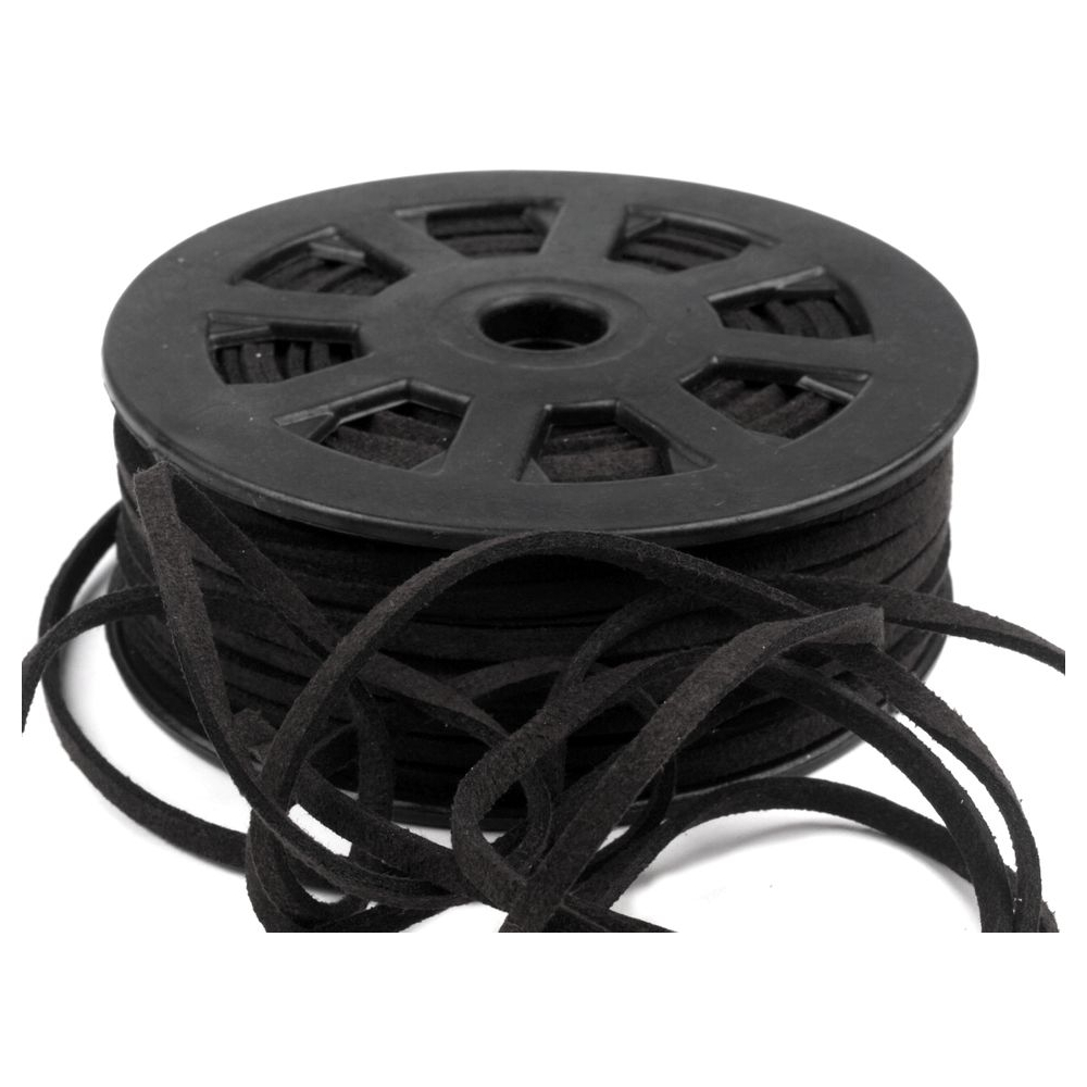3mm Kunstlederband in Schwarz