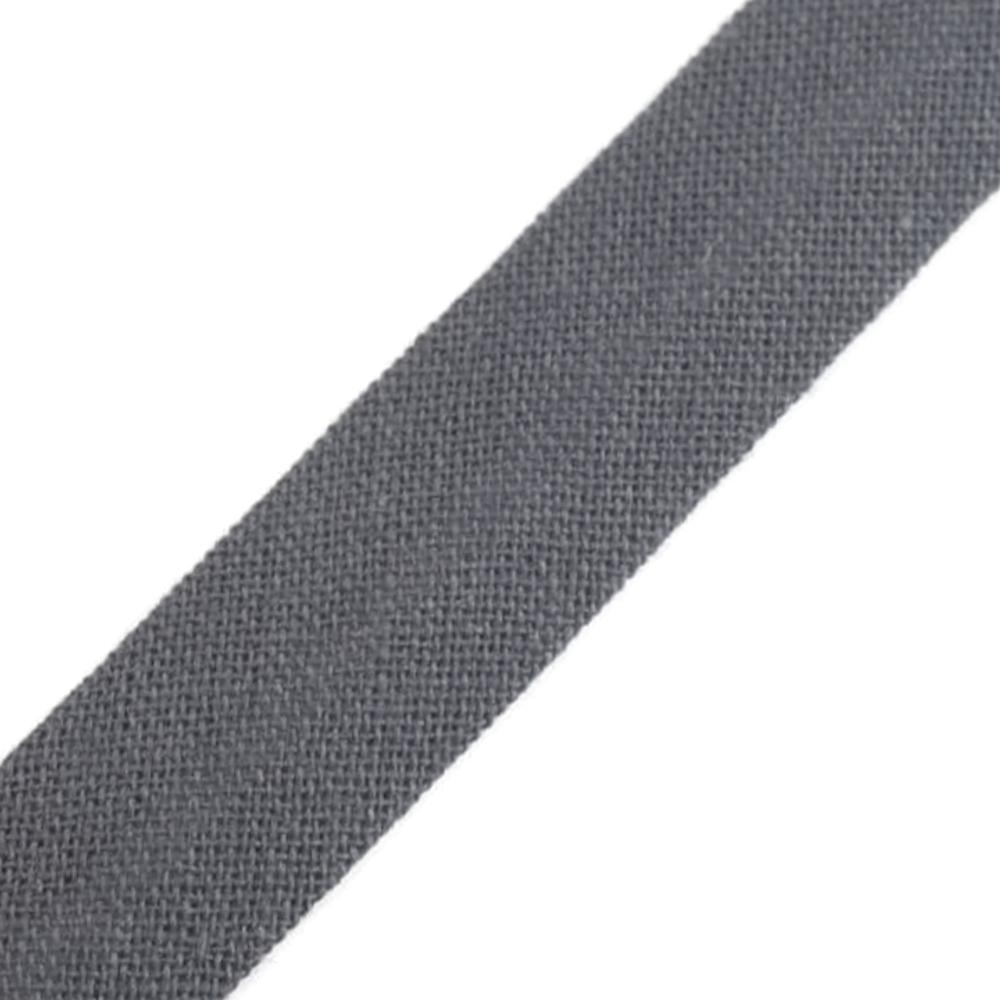 Schrägband aus Baumwolle 14mm breit gefalzt in Eisengrau (351)
