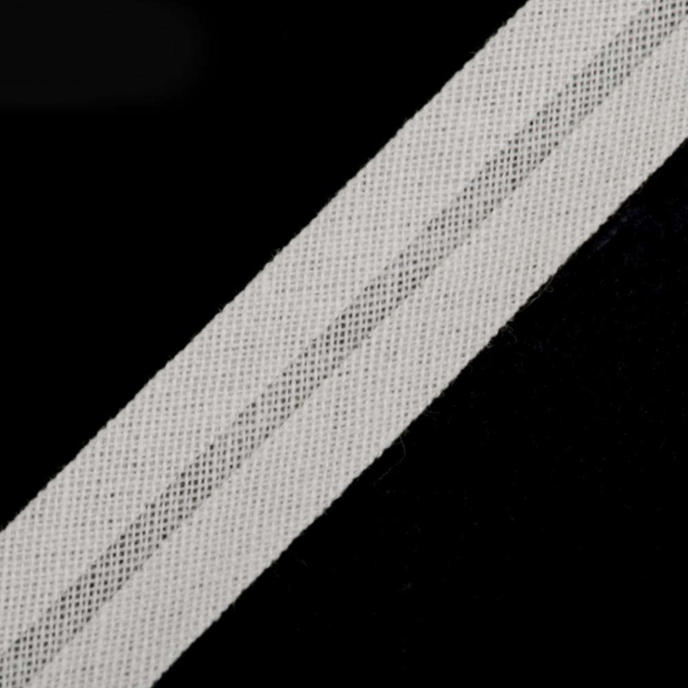 Schrägband aus Baumwolle 14mm breit gefalzt in  White Alyssu (211)