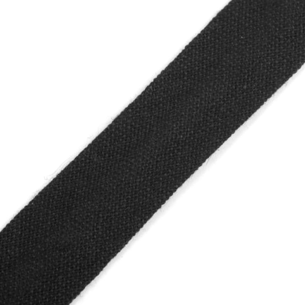 Schrägband aus Baumwolle 14mm breit gefalzt in  Schwarz (143)