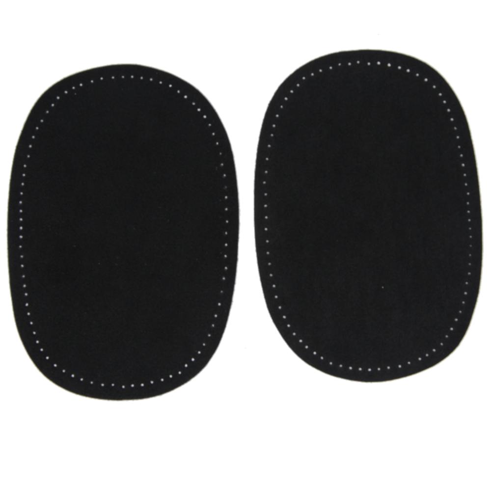 2 Bügelflecken oval aus Wildlederimitat 14,5 x10cm in Schwarz