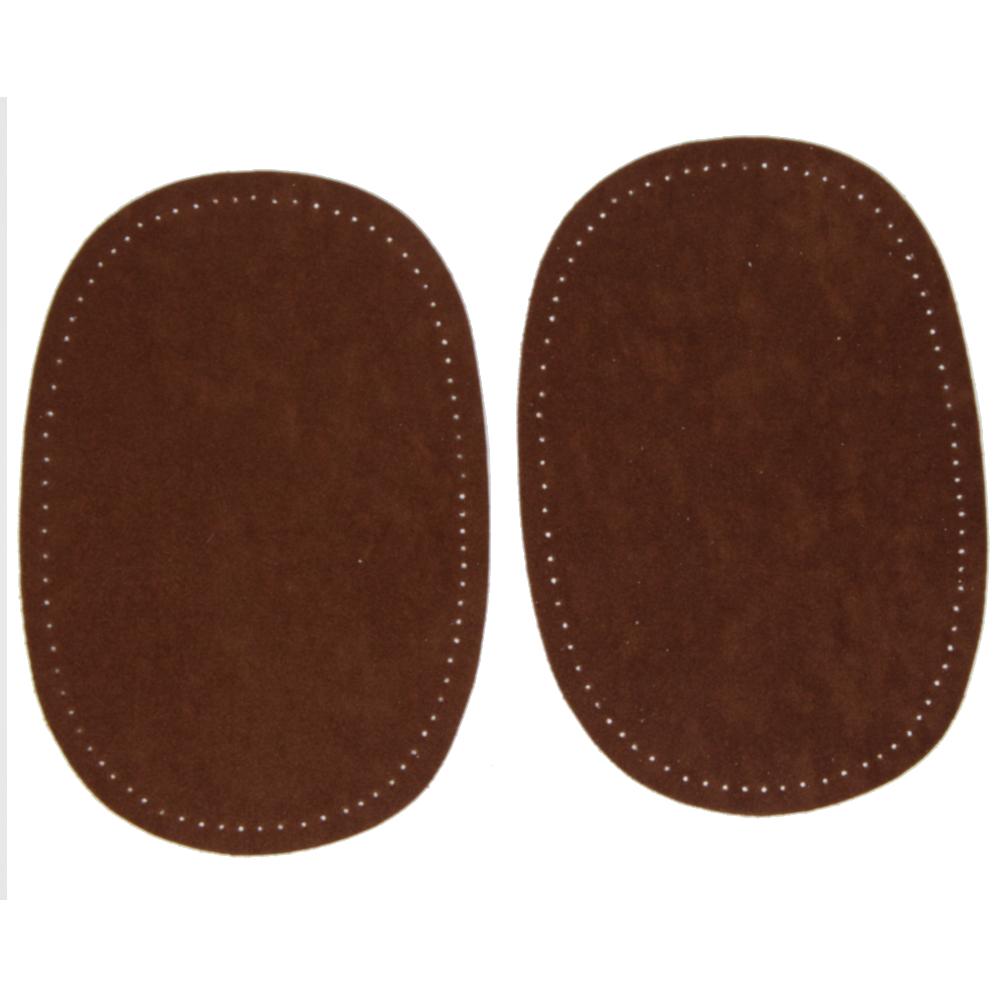 2 Bügelflecken oval aus Wildlederimitat 14,5 x10cm in Braun