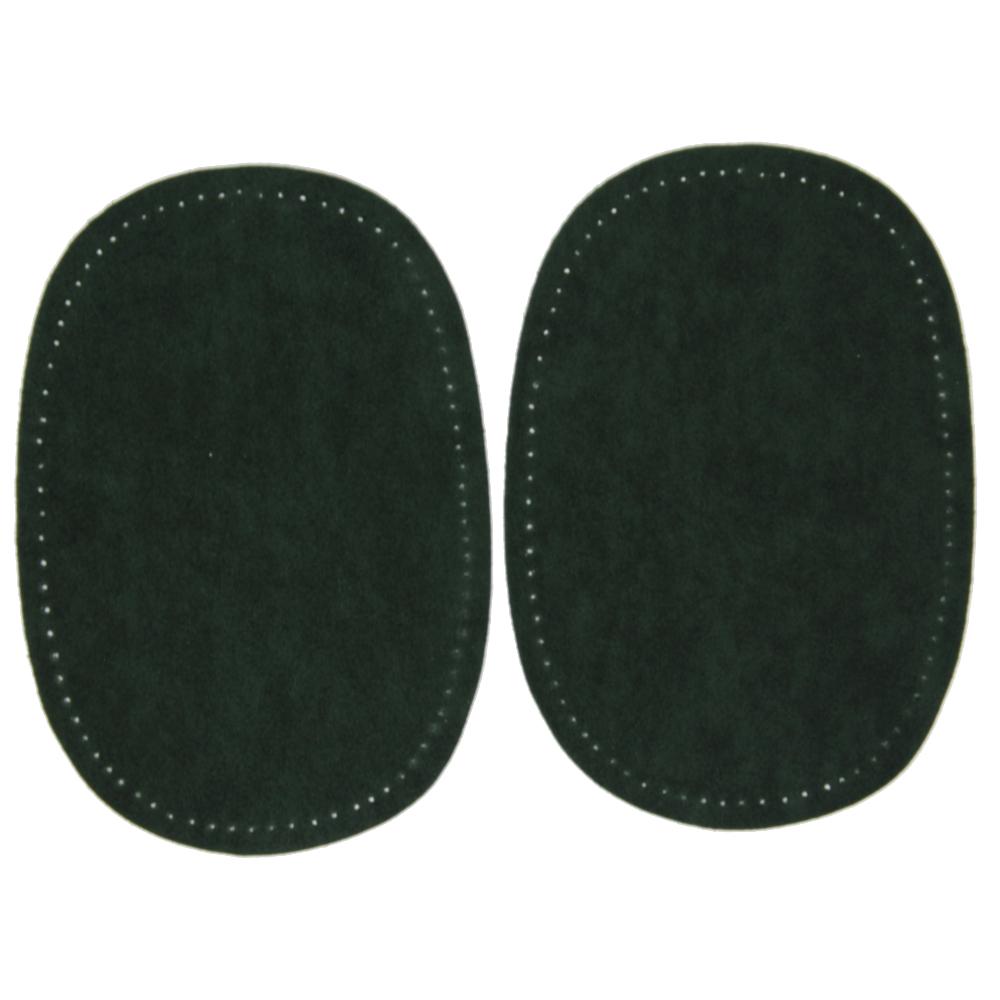 2 Bügelflecken oval aus Wildlederimitat 14,5 x10cm in Grün