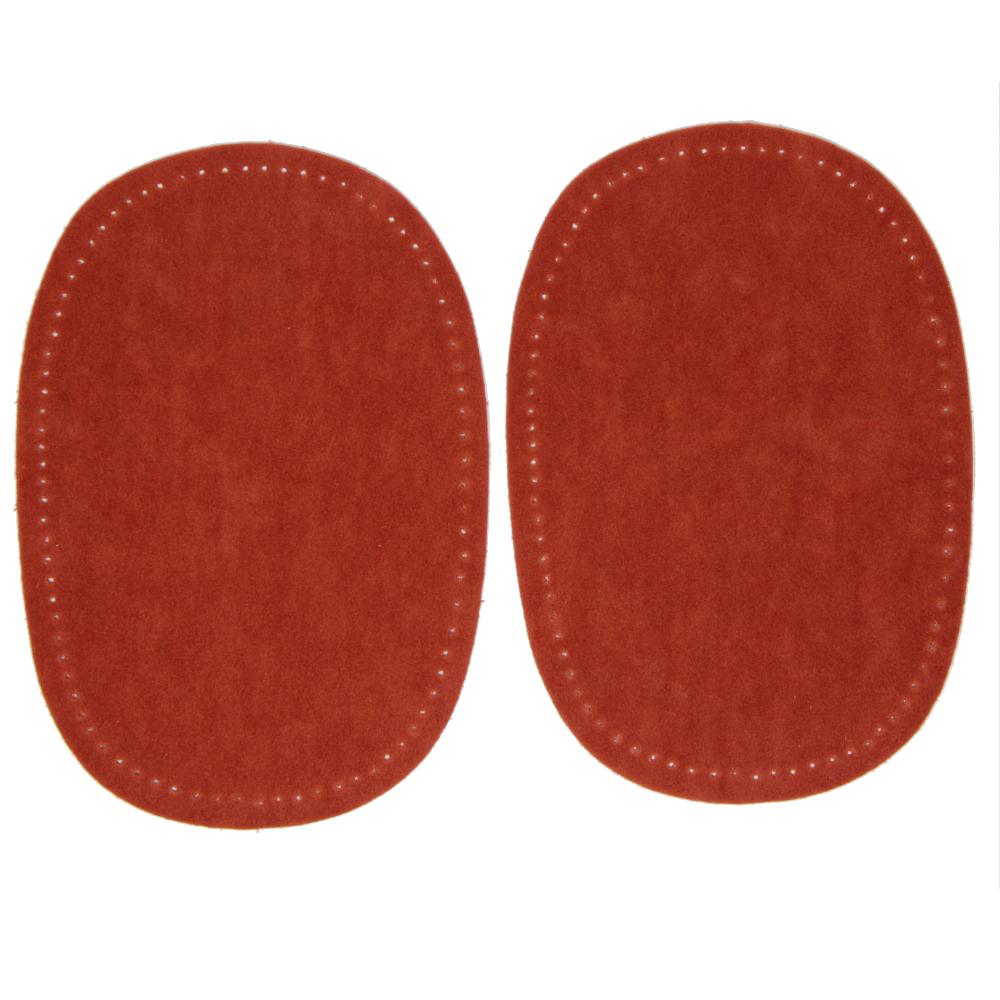 2 Bügelflecken oval aus Wildlederimitat 14,5 x10cm in Terracotta