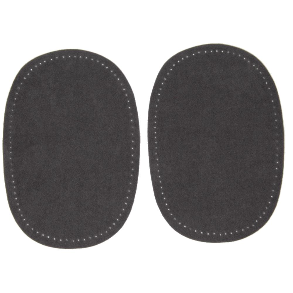 2 Bügelflecken oval aus Wildlederimitat 14,5 x10cm in Grau