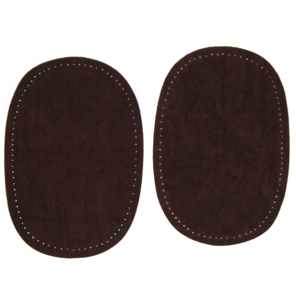 2 Bügelflecken oval aus Wildlederimitat 14,5 x10cm in Dunkelbraun
