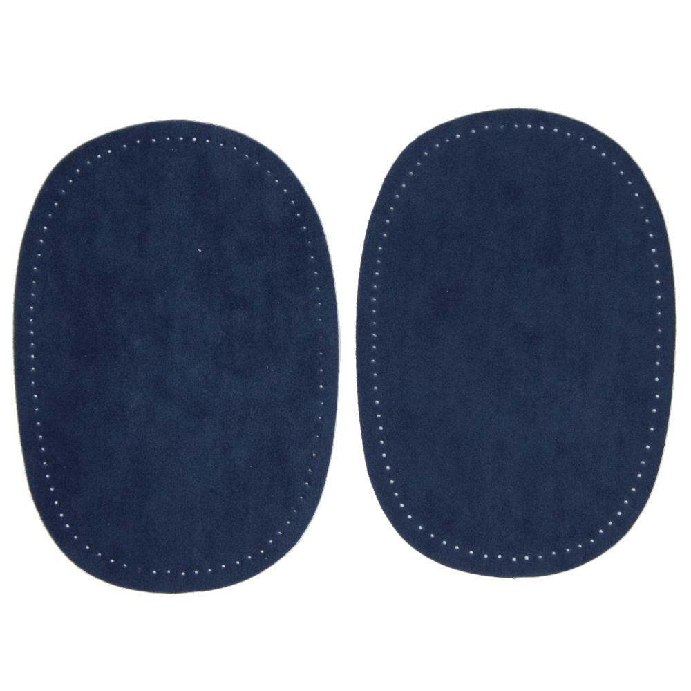 2 Bügelflecken oval aus Wildlederimitat 14,5 x10cm in Royal Blau