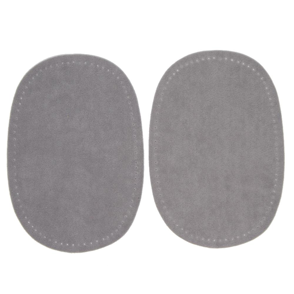 2 Bügelflecken oval aus Wildlederimitat 14,5 x10cm in Silberfarbend