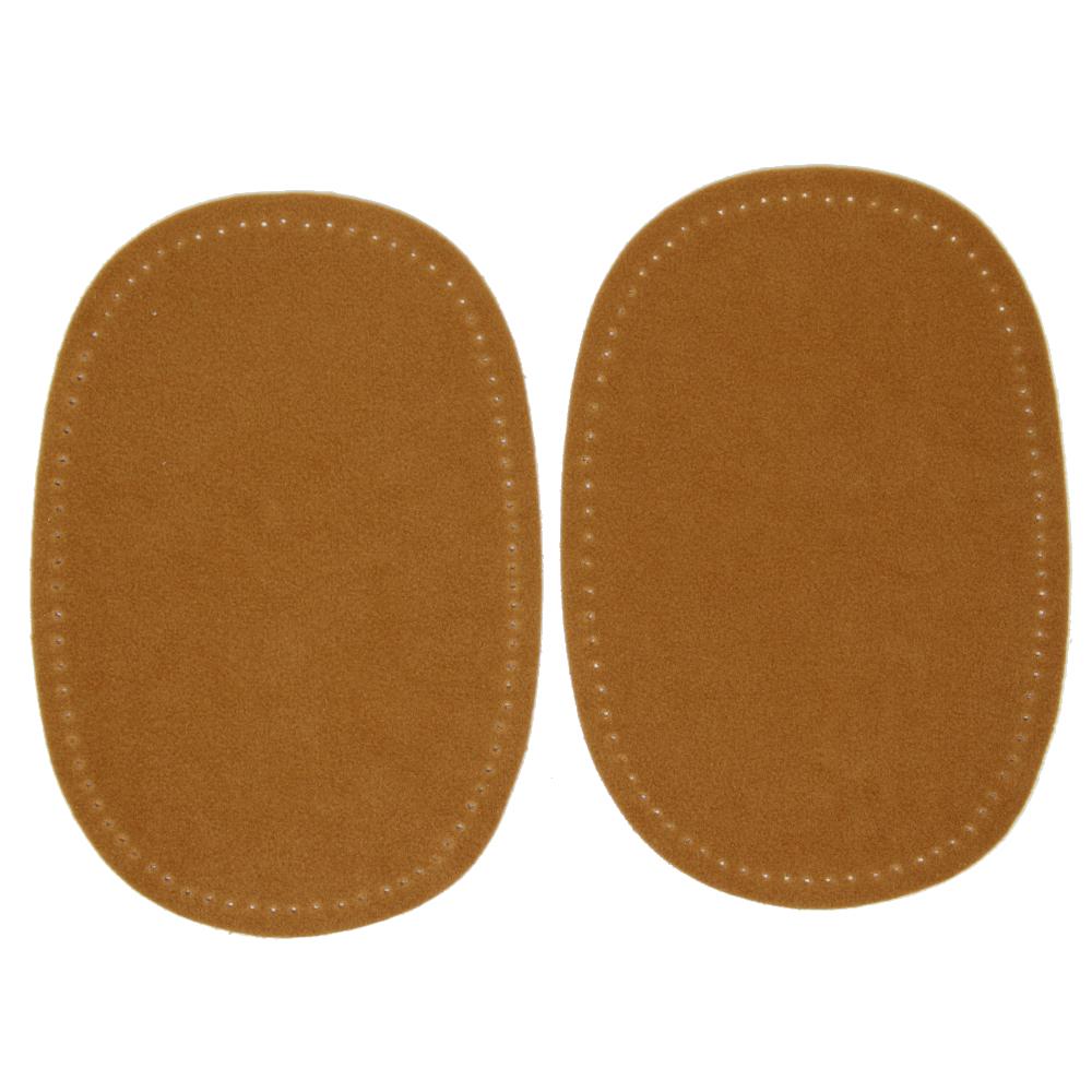 2 Bügelflecken oval aus Wildlederimitat 14,5 x10cm in Karamel