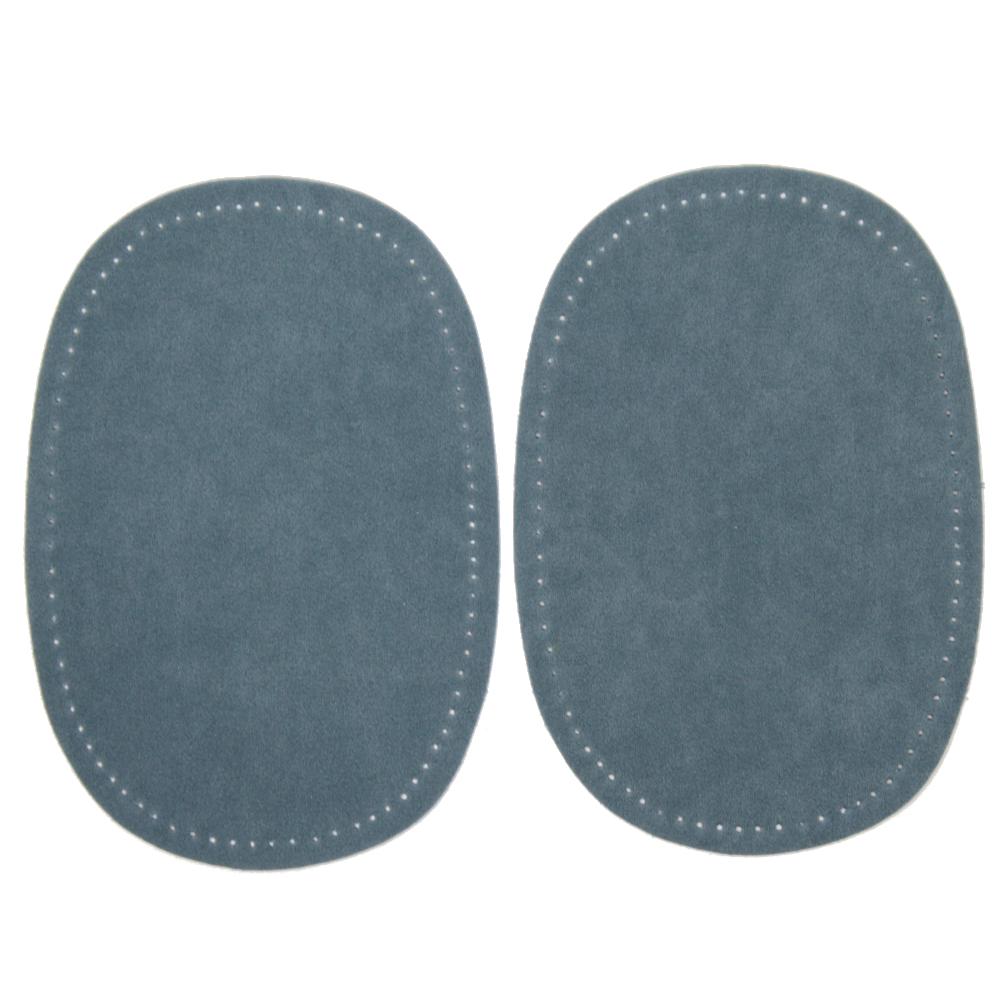 2 Bügelflecken oval aus Wildlederimitat 14,5 x10cm in Rauchblau