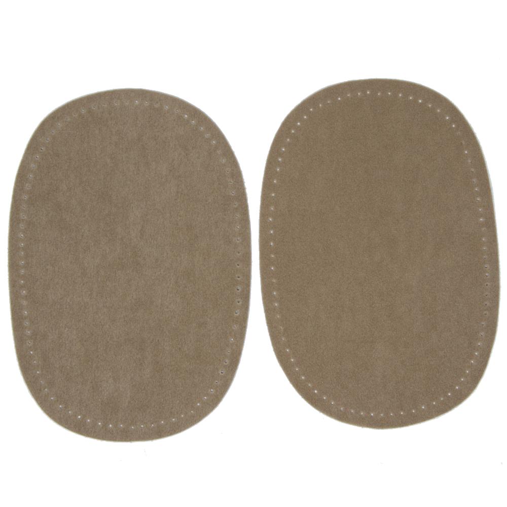 2 Bügelflecken oval aus Wildlederimitat 14,5 x10cm in Beigegelb