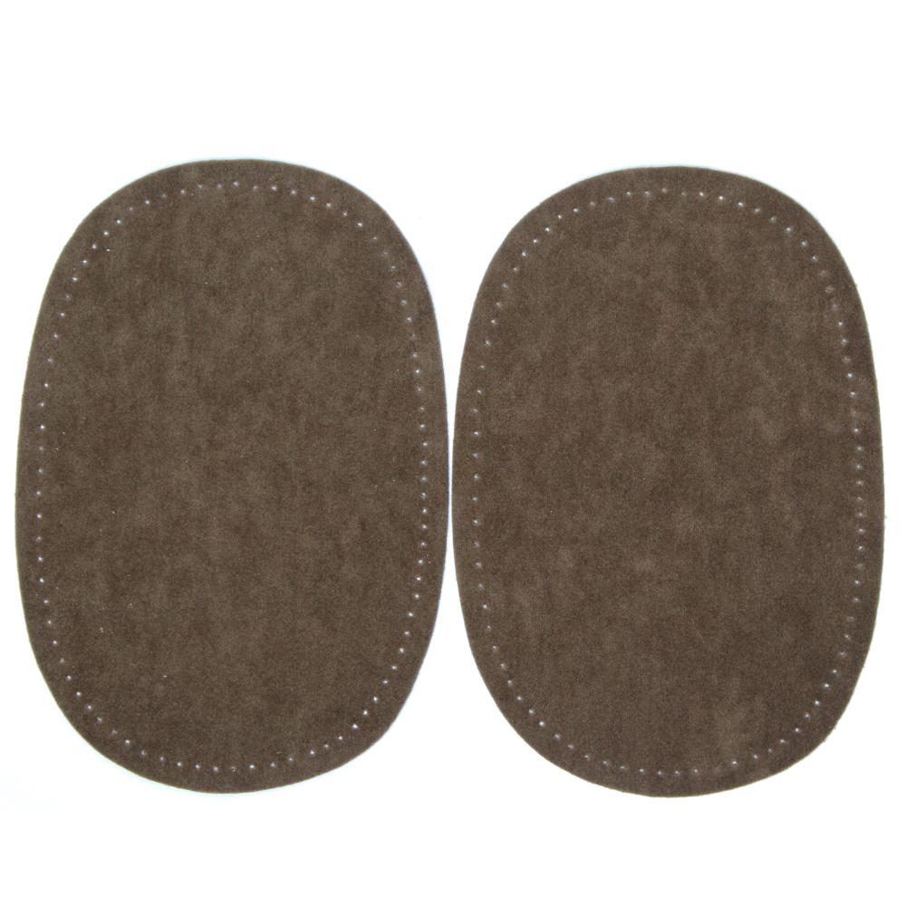 2 Bügelflecken oval aus Wildlederimitat 14,5 x10cm in Tabak