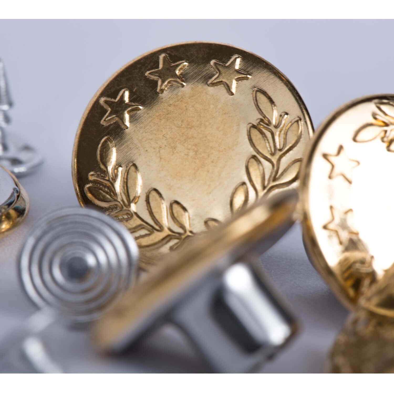 10x Metallknöpfe gold - 17mm - Eichenlaub