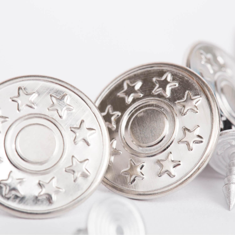 10x Metallknöpfe - Silber - 17mm - Sterne