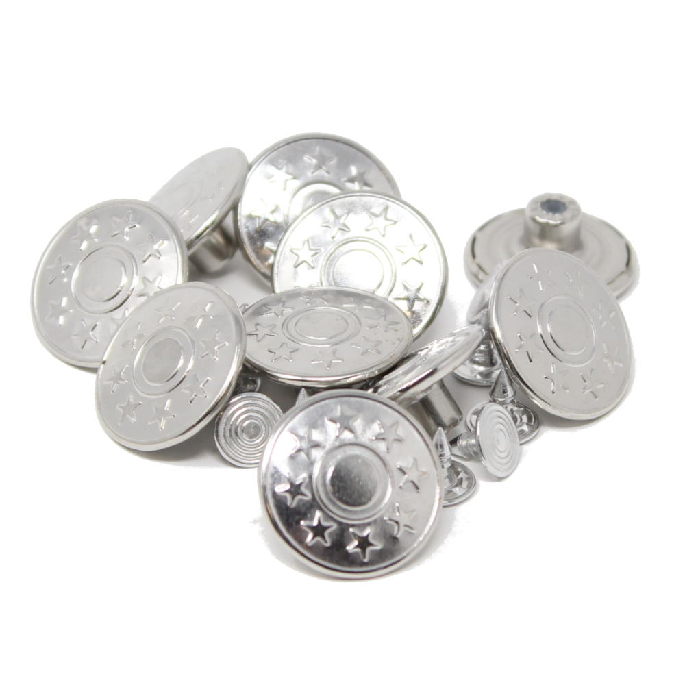 10 Stück Metallknöpfe - 20mm - Silber - Motiv: Sterne