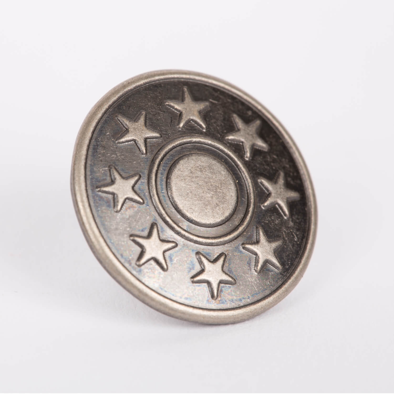 10 Stück Metallknöpfe - 20mm - Altsilber - Motiv: Sterne