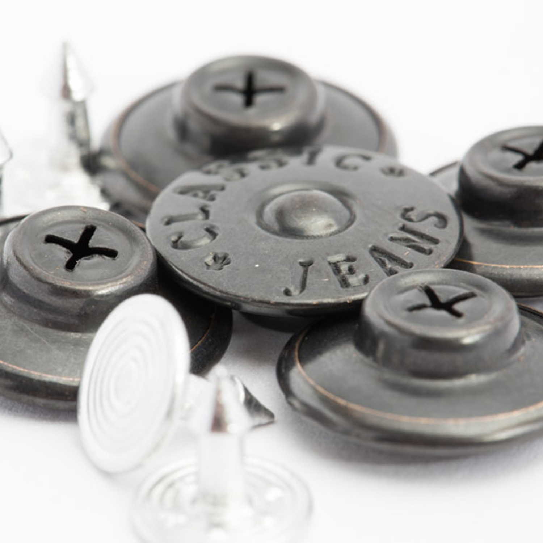 """5 Patenthosenknöpfe """"JEANS"""" - 16mm - Altsilber"""