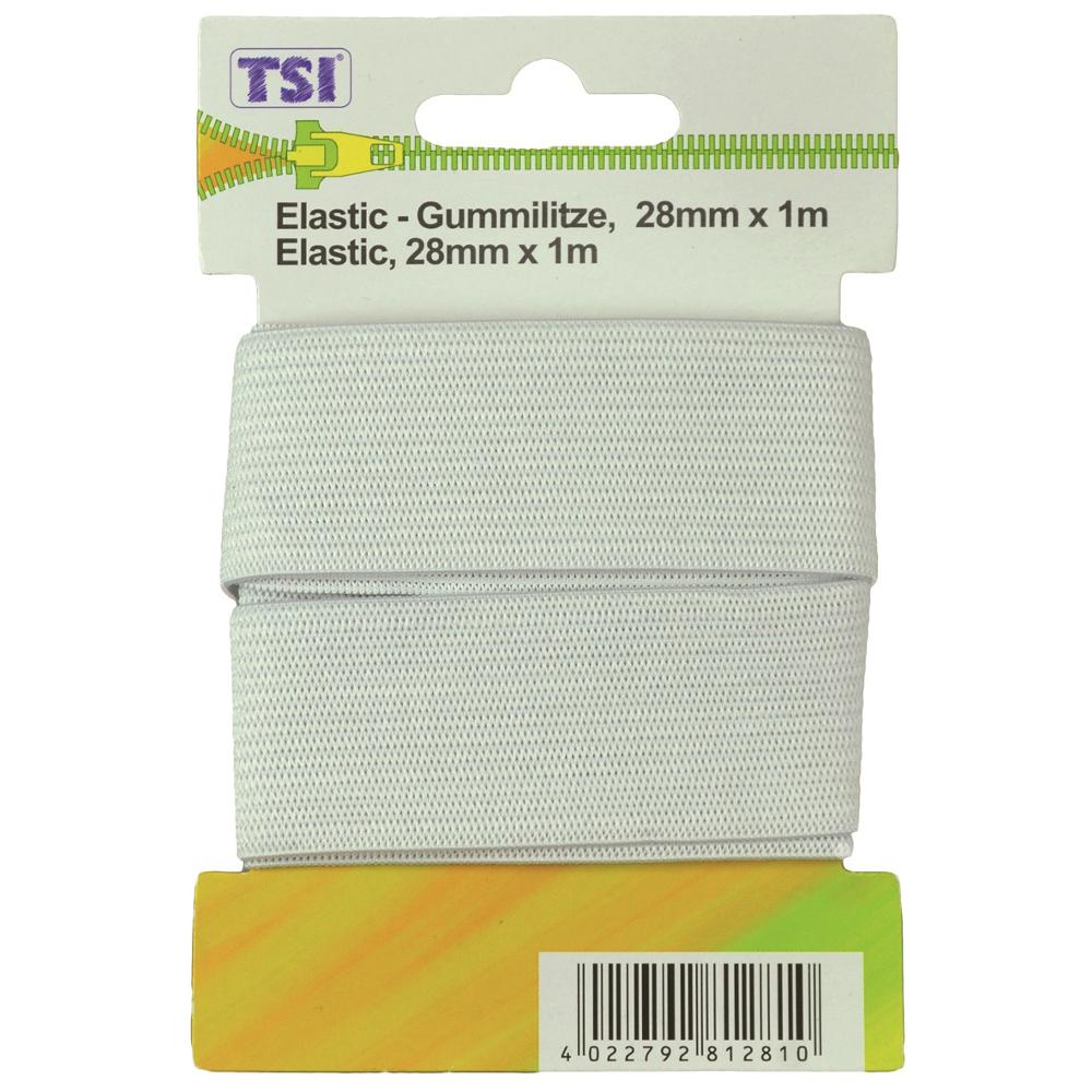 Elastic Gummilitze 28mm x 1m in weiß