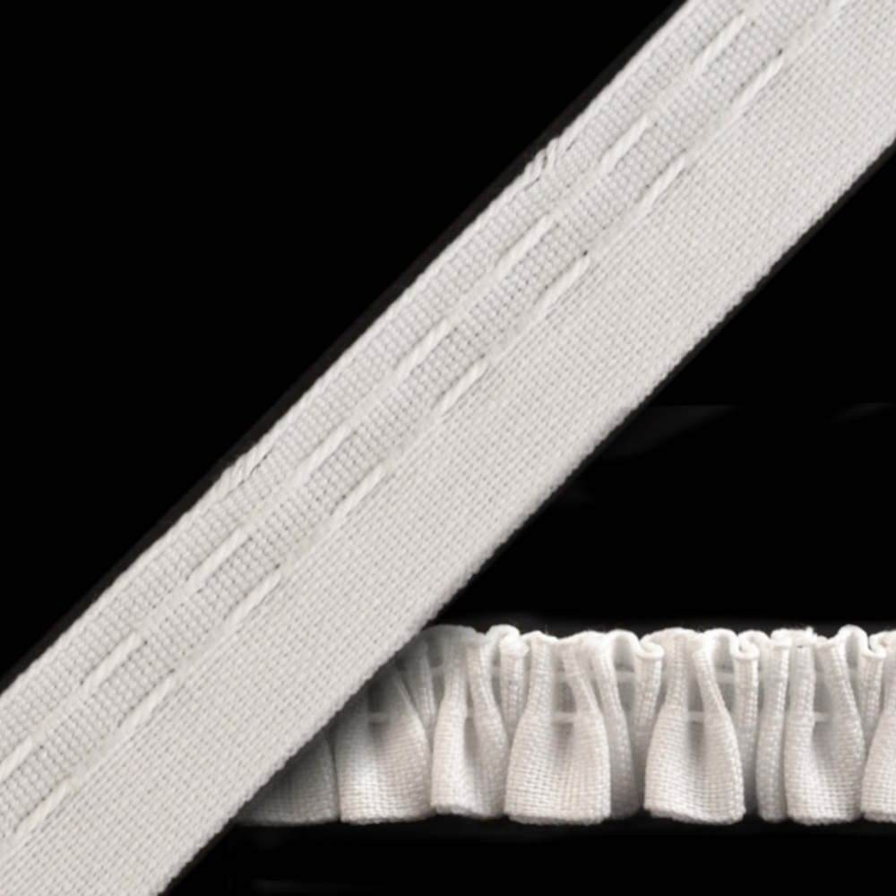 Gardinenband | Smokband 20mm breit | flach | Asylum Weiß