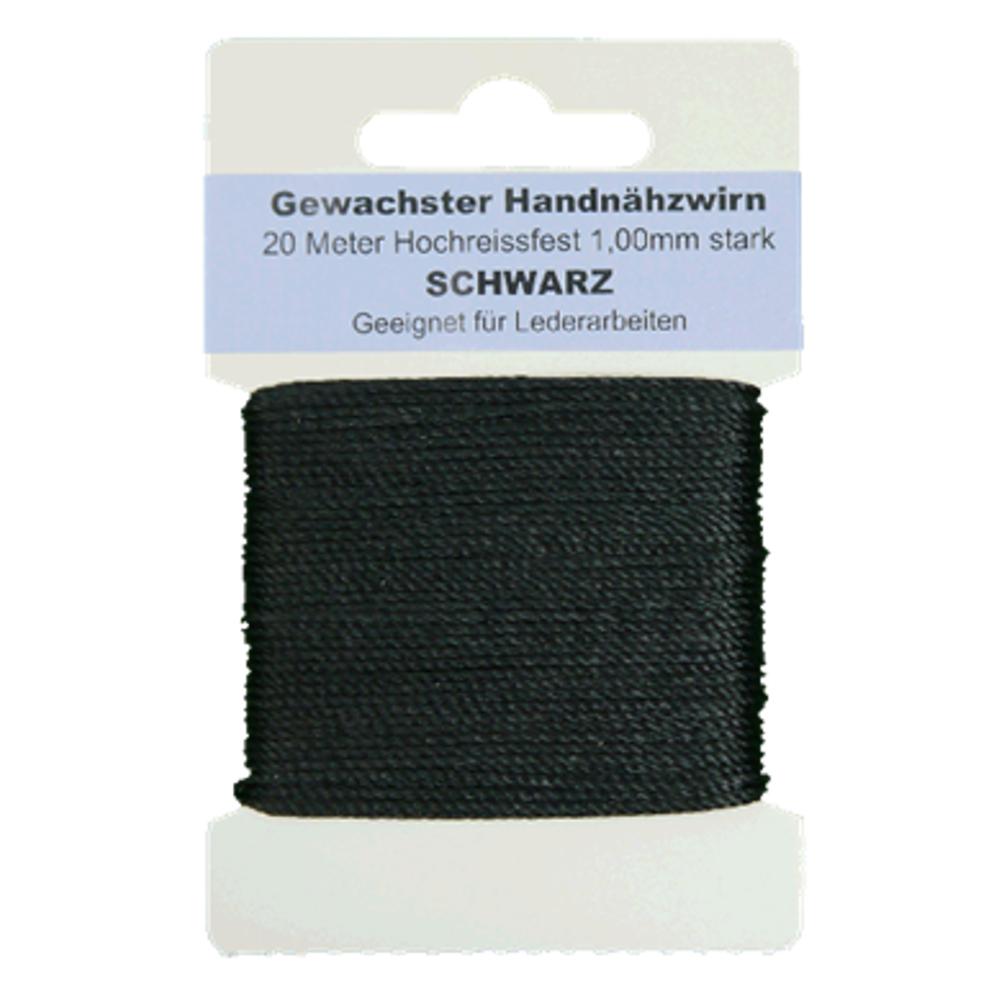20 Meter gewachster Handnähzwirn Ø 1mm für Lederarbeiten in schwarz