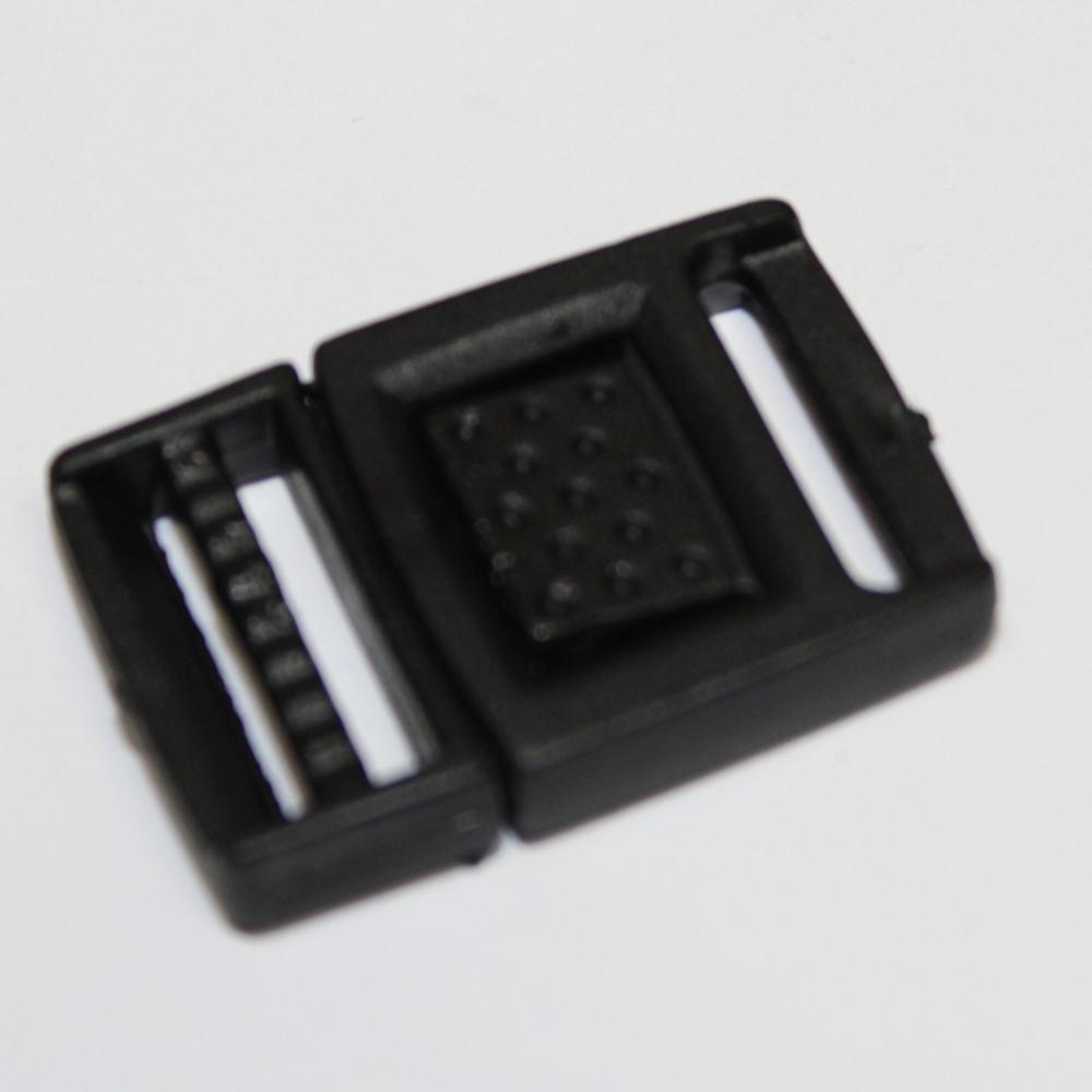2x Steckschnalle 15mm - mit Regulator - in Schwarz