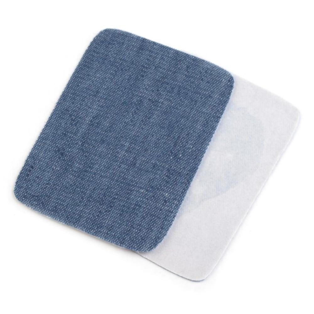 2x Jeans Bügelflicken - 5,3 x 7,9 cm - Blau-Grau (5)