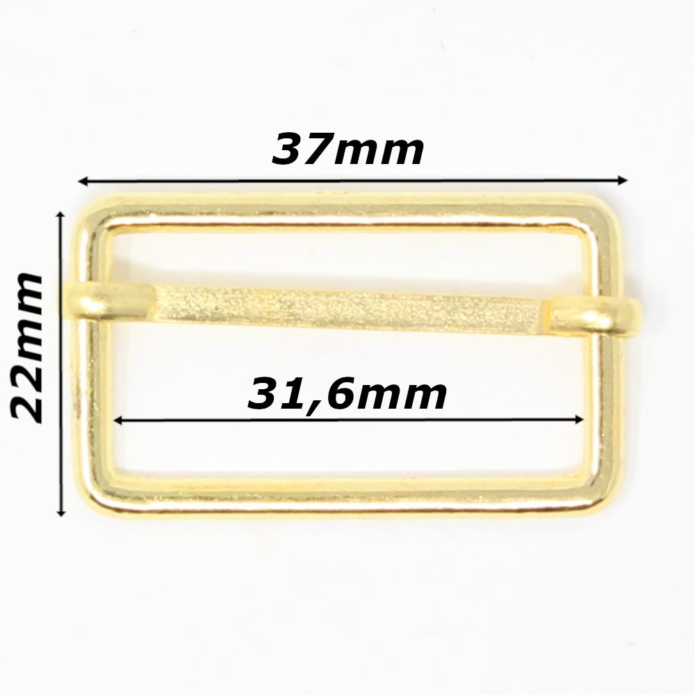 10 Metallschieber für 30mm breite Gurtbänder in Goldfarben