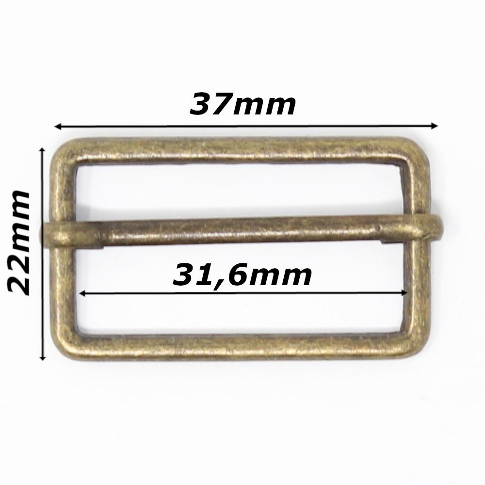 10 Metallschieber für 30mm breite Gurtbänder in Altmessing