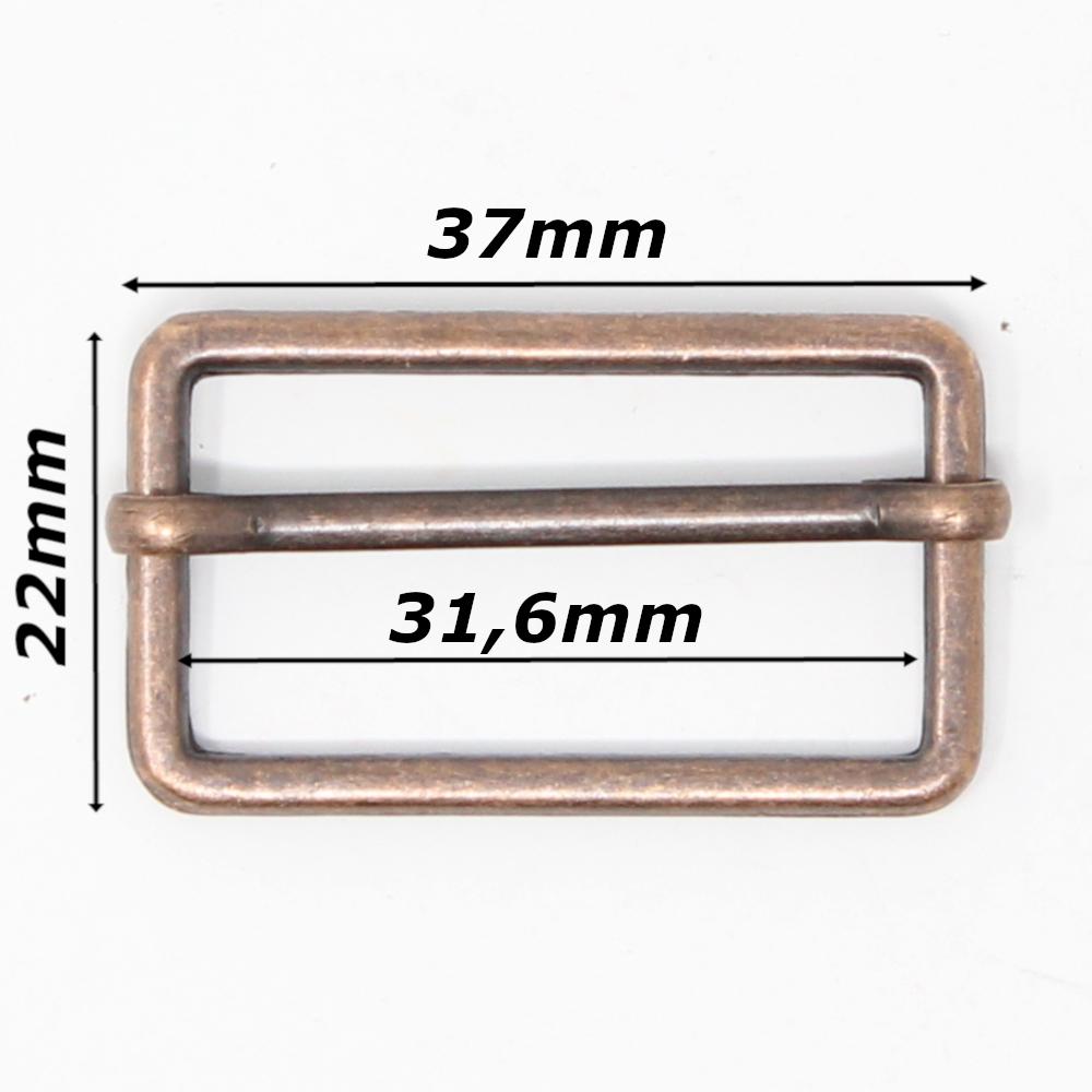 10 Metallschieber für 30mm breite Gurtbänder in Altkupfer