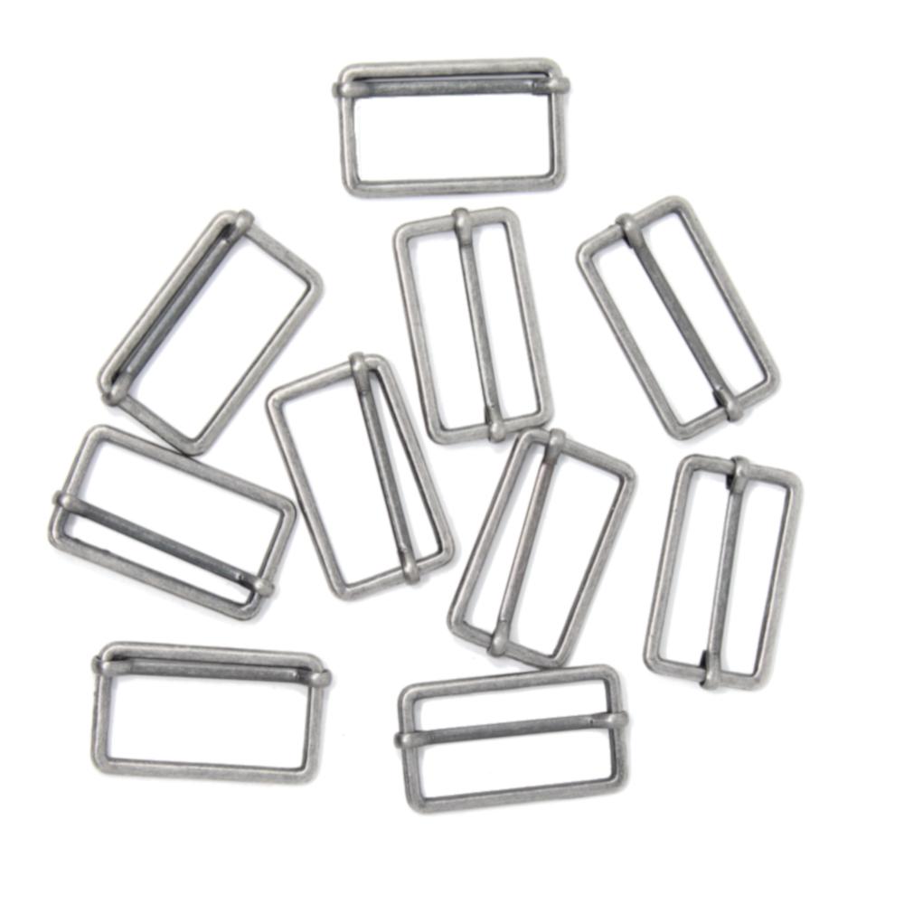 10 Metallschieber für 30mm breite Gurtbänder in Altsilber