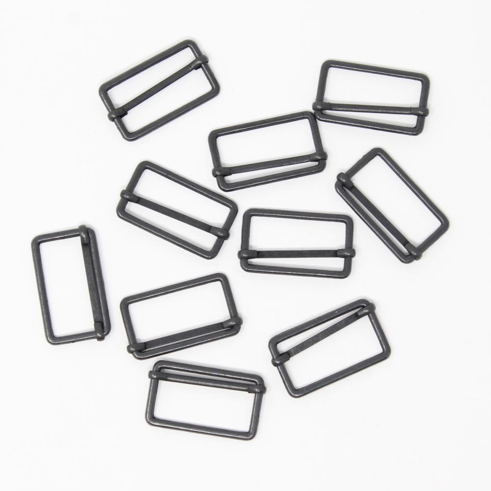 10 Metallschieber für 30mm breite Gurtbänder in Brüniert