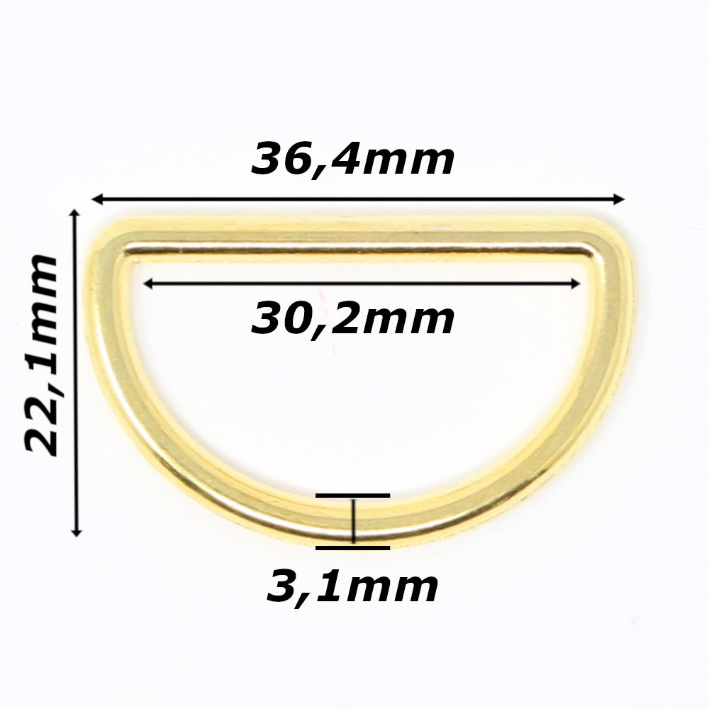 10 D-Ringe für Gurtbänder bis 30mm Breite in Goldfarben