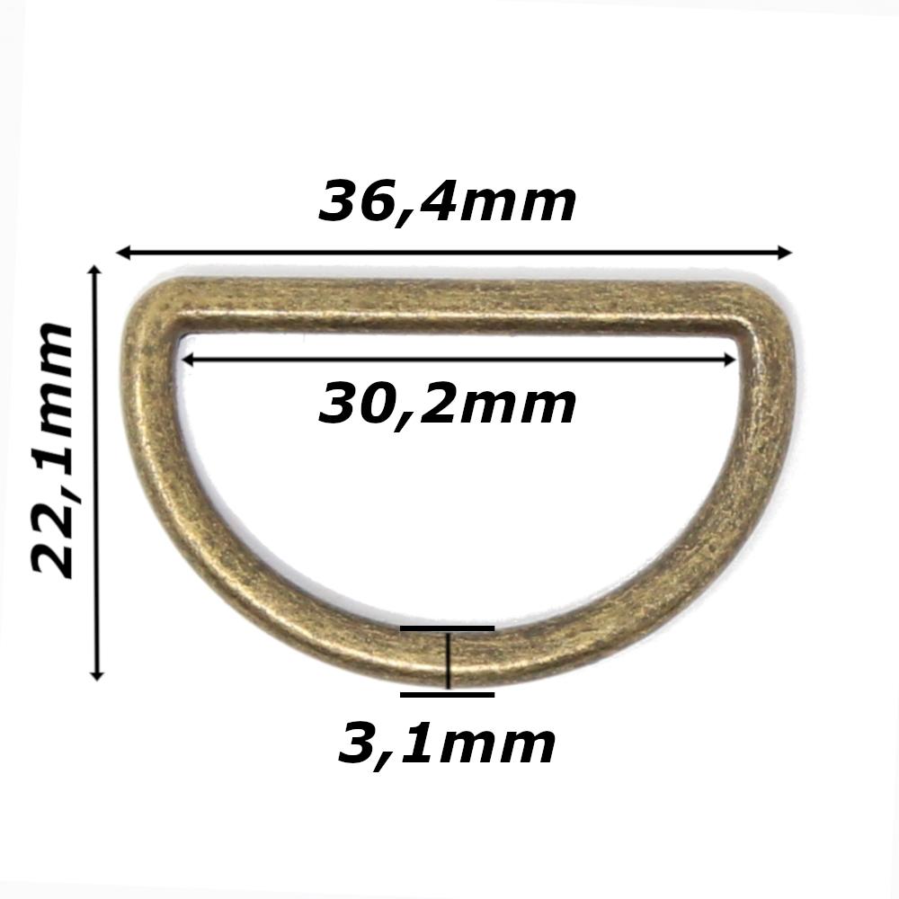 10 D-Ringe für Gurtbänder bis 30mm Breite in Altmessing