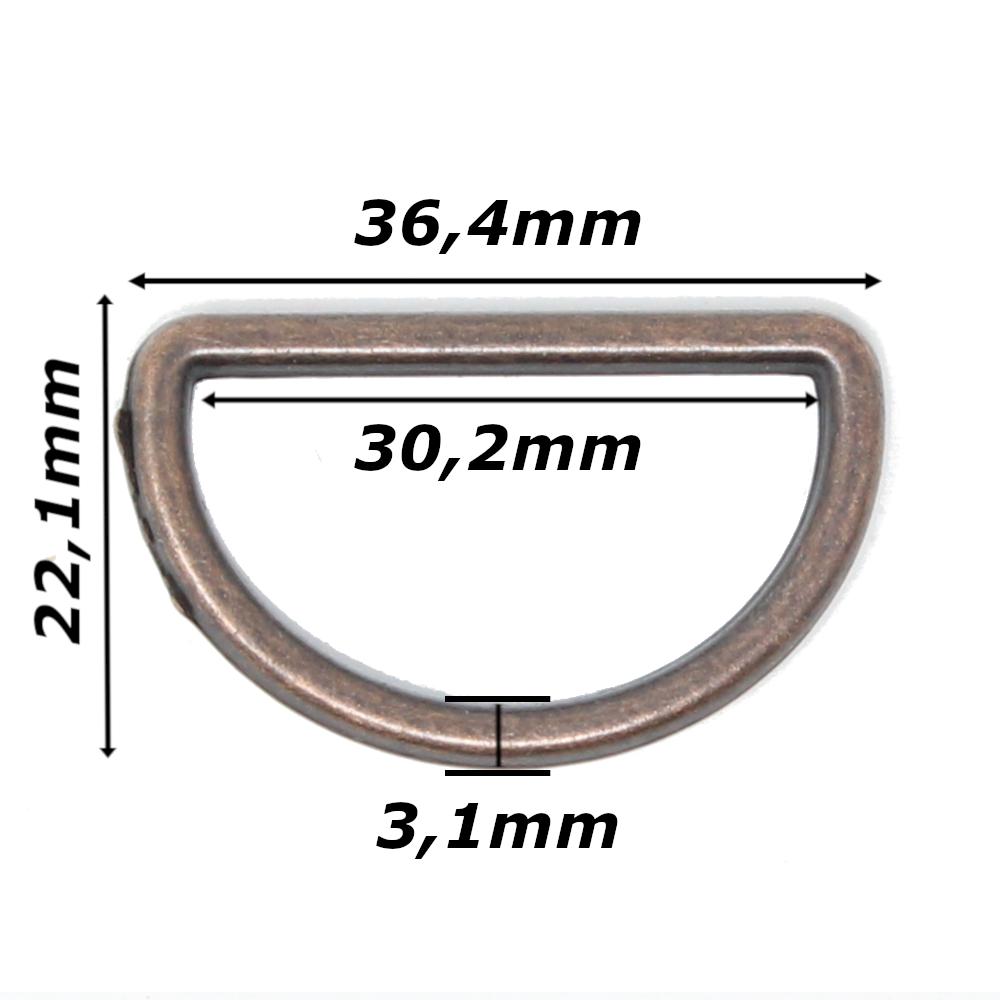 10 D-Ringe für Gurtbänder bis 30mm Breite in Altkupfer