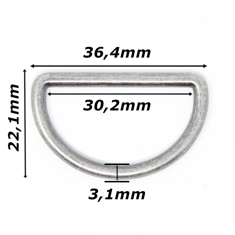 10 D-Ringe für Gurtbänder bis 30mm Breite in Altsilber