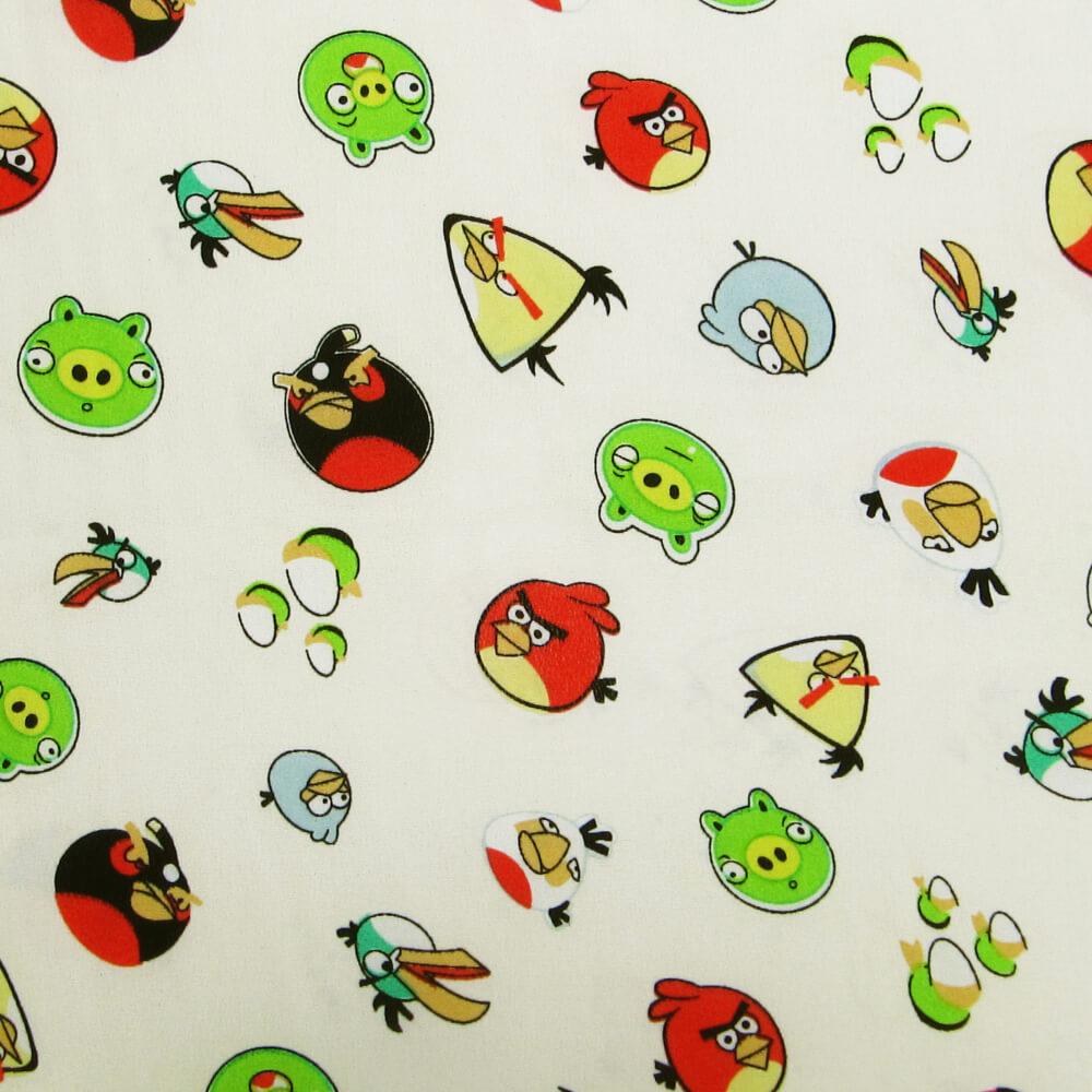 1 m   Kinderstoff Crêpe Angry Birds - creme/rot/grün/hellblau/gelb (2434)