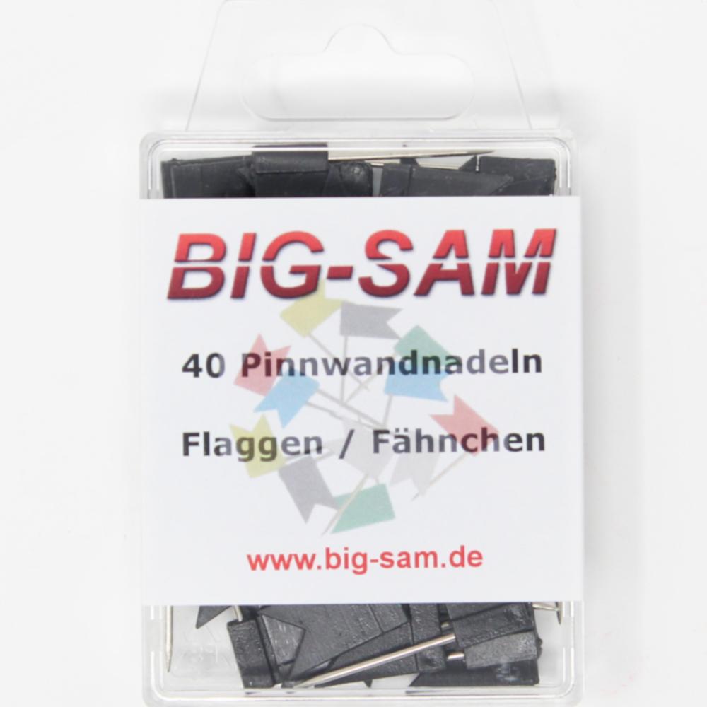 40 Stecknadeln - Fahne - Schwarz