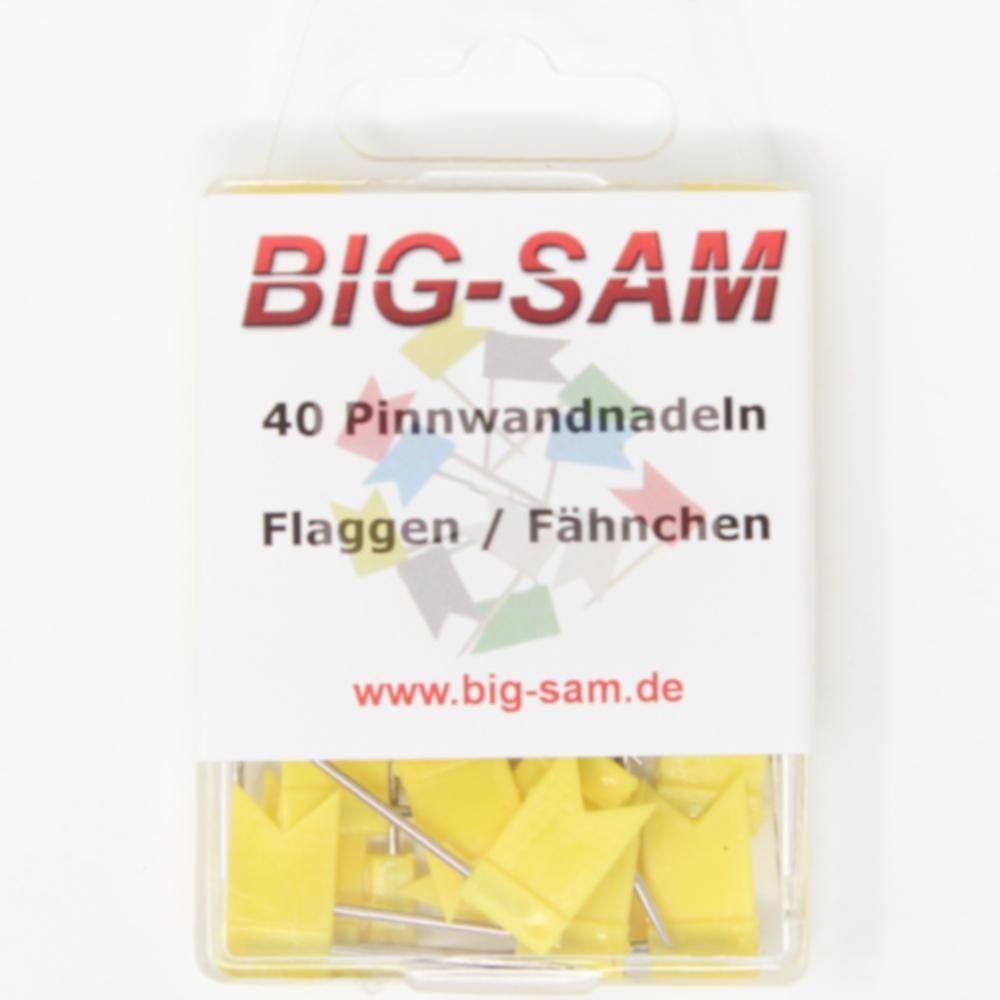 40 Stecknadeln - Fahne - Gelb