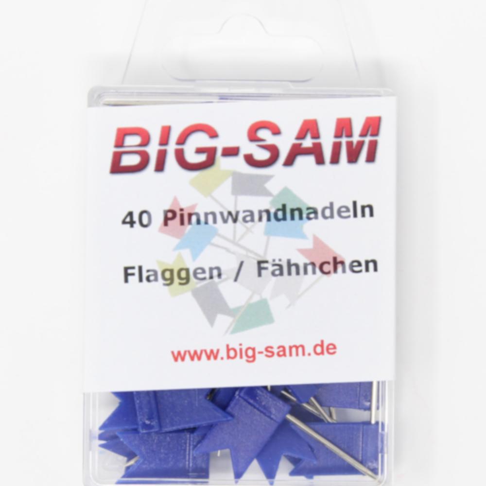 40 Stecknadeln - Fahne - Blau