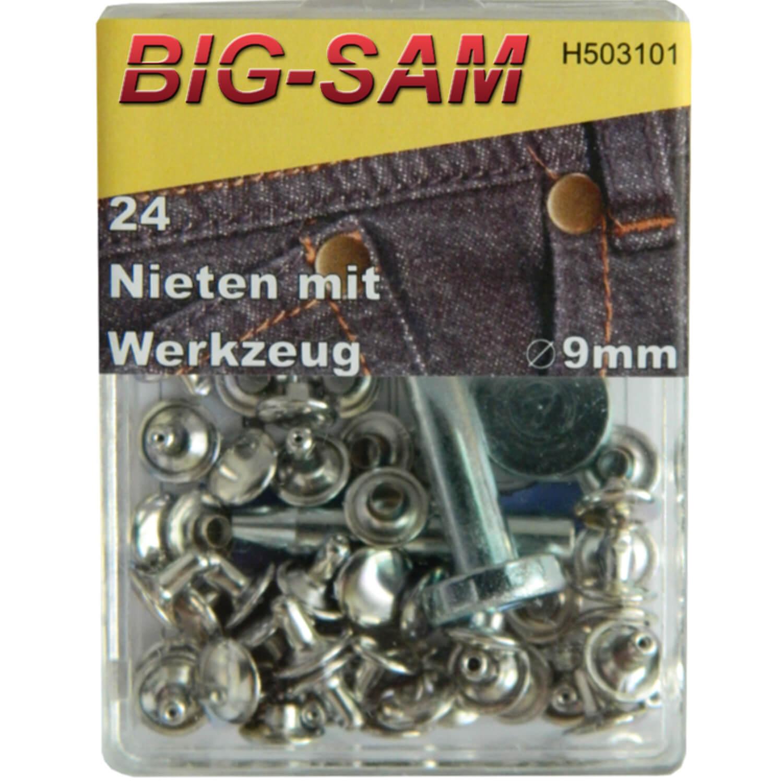 24 Hohlnieten mit Werkzeug - 9mm - Silber