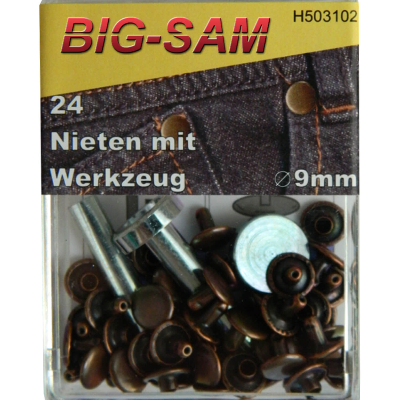 24 Hohlnieten mit Werkzeug - 9mm - Kupfer