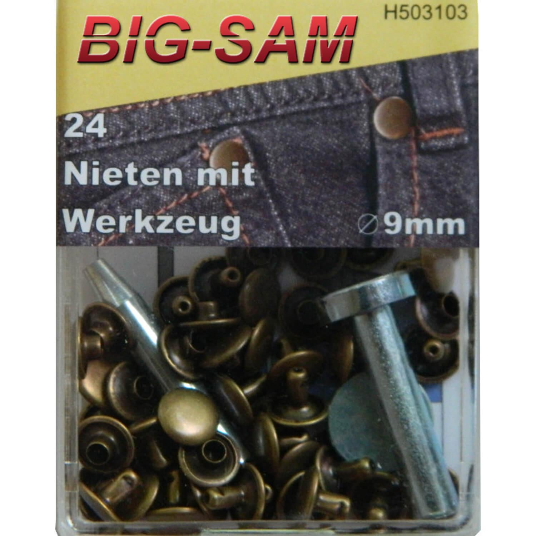 24 Hohlnieten mit Werkzeug - 9mm - Altmessing