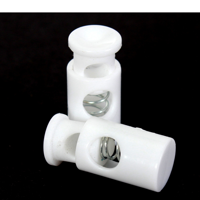 10x Zylinderkordelstopper 28mm in Weiß