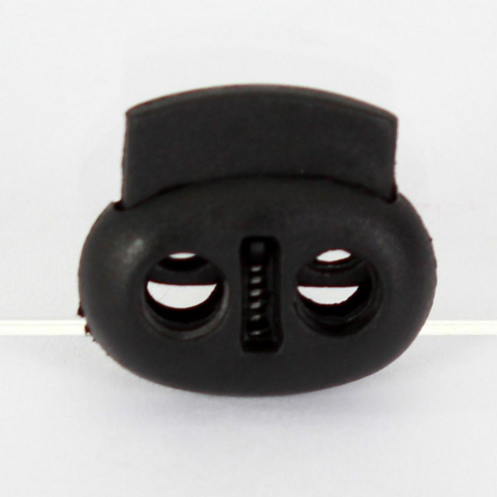 10x 2-Loch-Kordelstopper 17mm in Schwarz