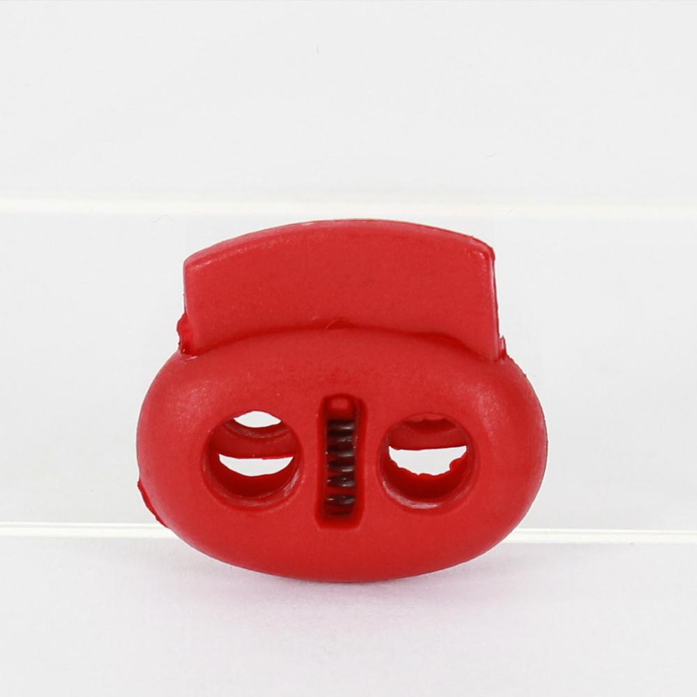 10x 2-Loch-Kordelstopper 17mm in Rot