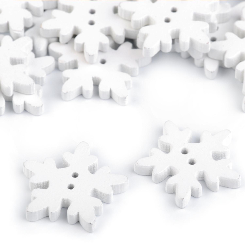 5 Stück Holzknöpfe Ø25 Schneeflocken in Weiß