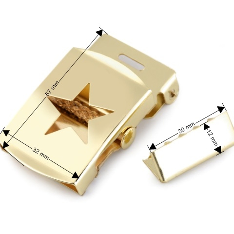 Gürtelschnalle mit Stern - 30mm  mit Endstück - goldfarbend